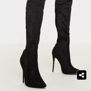 Black Faux Suede Extreme Thigh High Heeled Boots